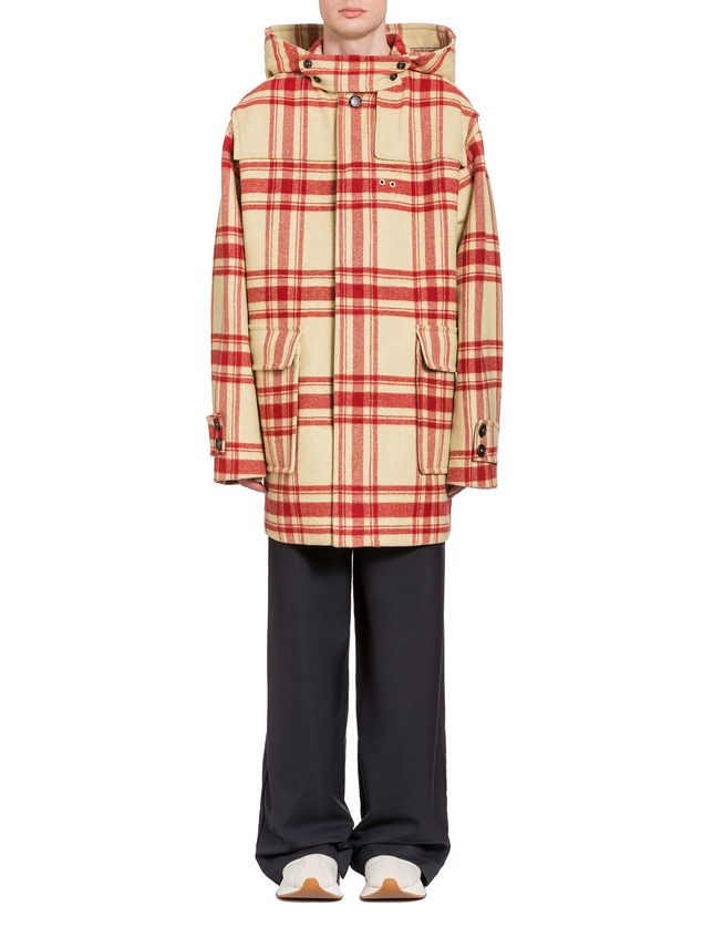 Marni Hooded plaid coat in double wool Man - 1