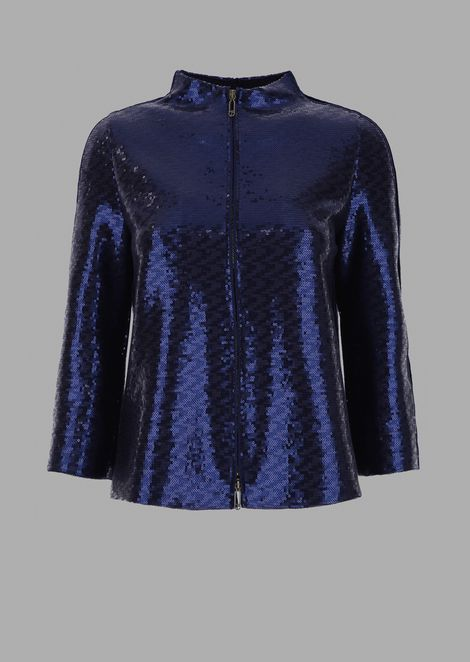 Sequin-covered jacket with zip