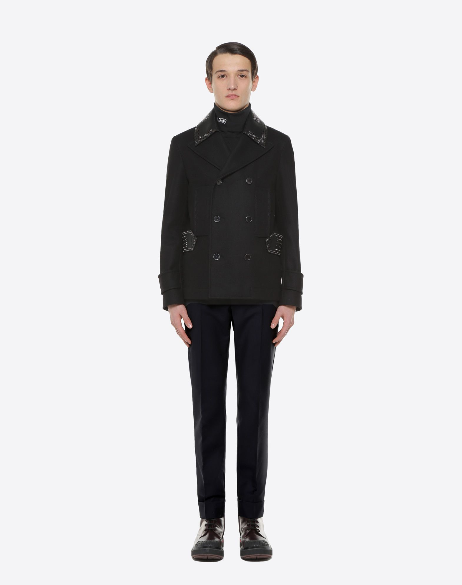 VALENTINO UOMO Double-breasted Star Punk peacoat PEA COAT U r