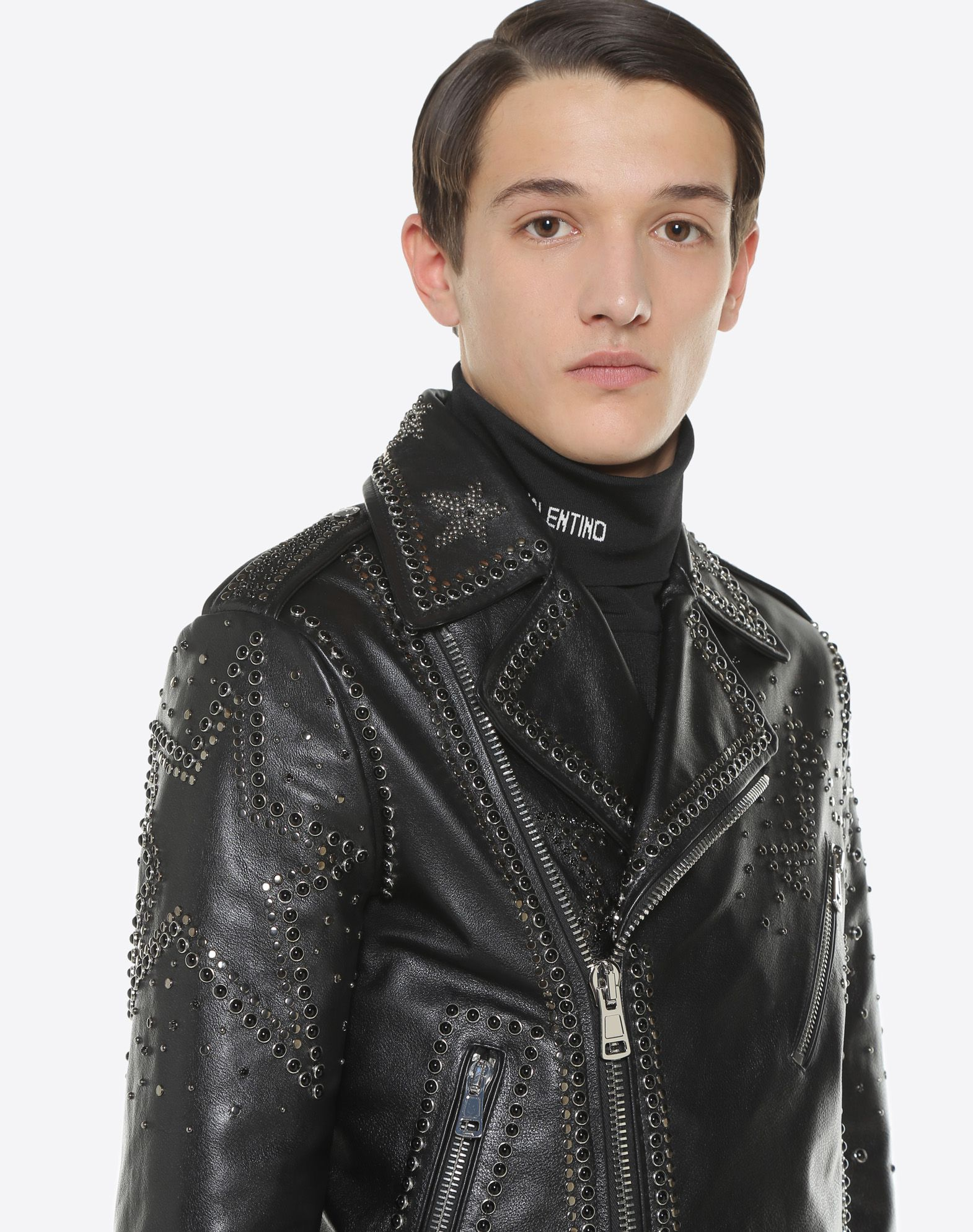 VALENTINO UOMO Biker jacket with metal and stud details JACKET U a