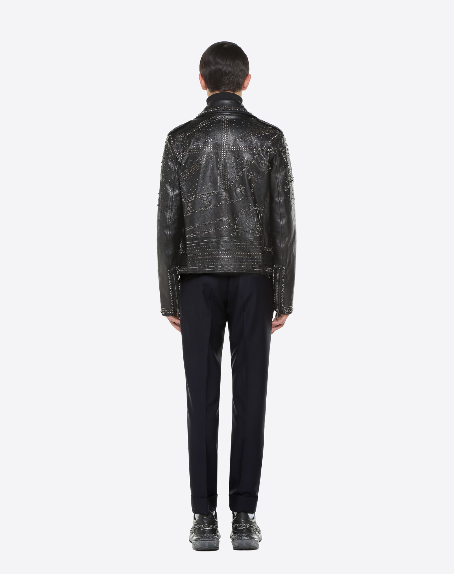VALENTINO UOMO Biker jacket with metal and stud details JACKET U e