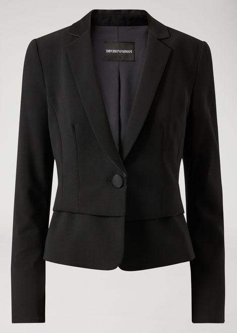 Пиджак с баской из натуральной шерсти стрейч