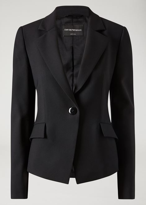 Slim fit single-breasted jacket in stretch virgin wool