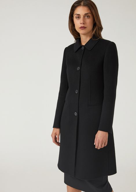Pure cashmere single-breasted coat with tab