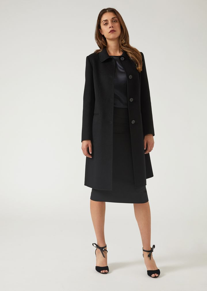 f8158349d Pure cashmere single-breasted coat with tab