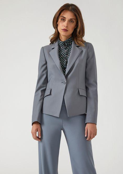 Slim fit single-breasted jacket in stretch virgin wool