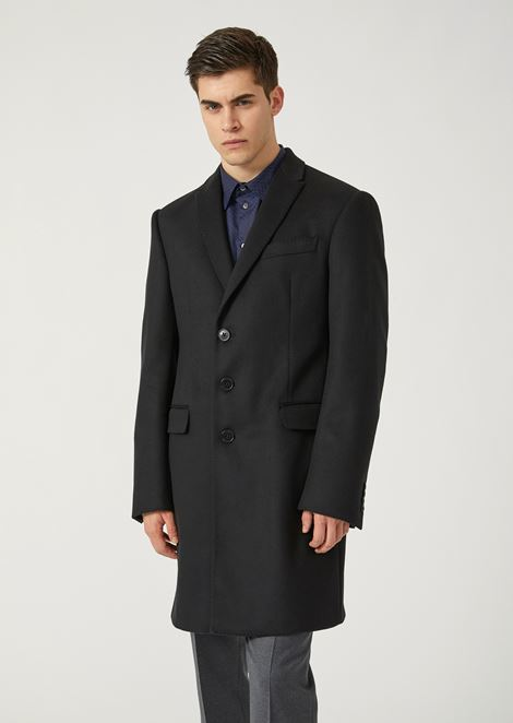 Modern fit single-breasted coat in virgin wool