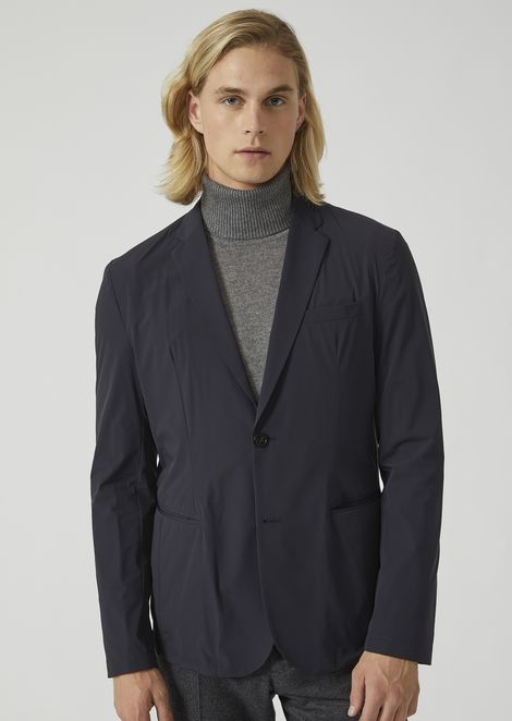 Two-button single-breasted jacket in two-way stretch technical fabric