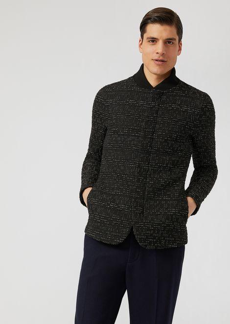 Stretch wool jacket with macro-seersucker pattern