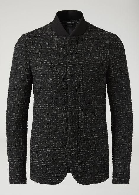 Chaqueta de lana virgen elástica con textura macro-seersucker