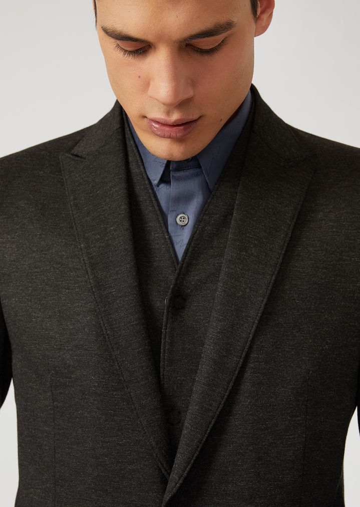 EMPORIO ARMANI Single-breasted bib front jacket in stretch jersey Casual Jacket Man a