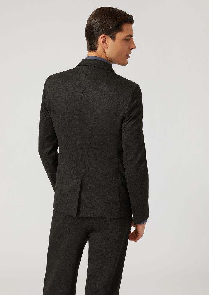 EMPORIO ARMANI Single-breasted bib front jacket in stretch jersey Casual Jacket Man e