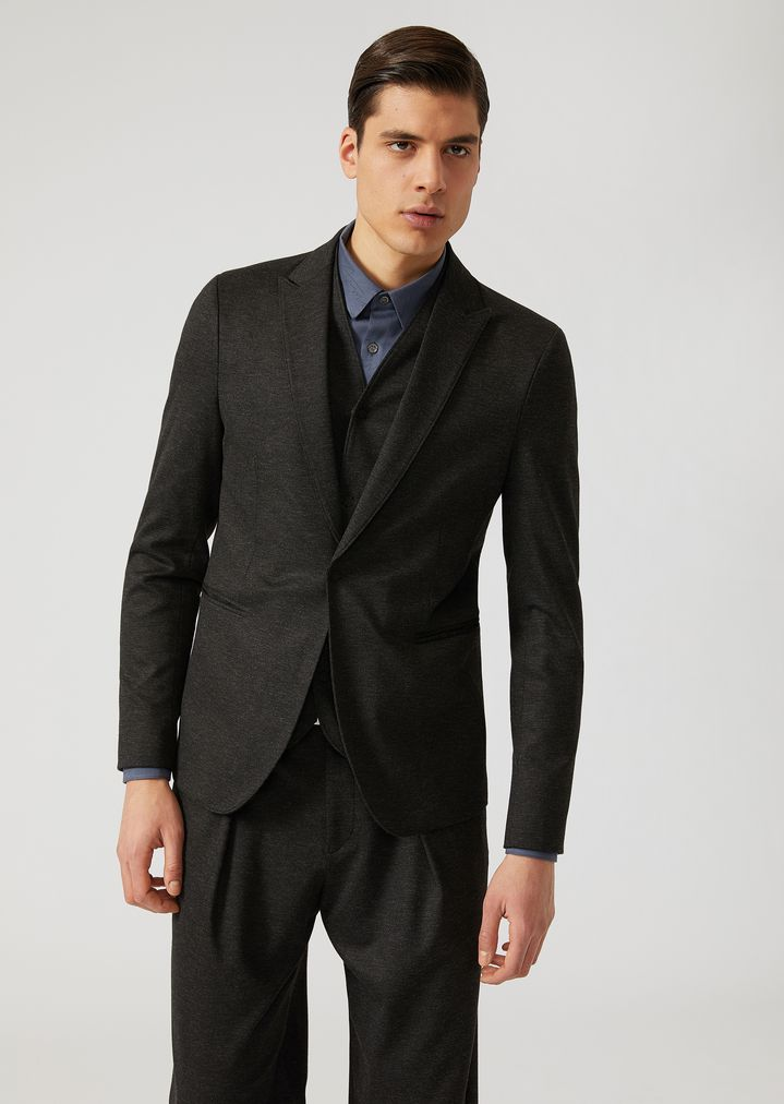 EMPORIO ARMANI Single-breasted bib front jacket in stretch jersey Casual Jacket Man f
