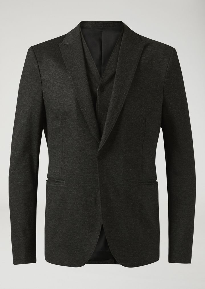EMPORIO ARMANI Single-breasted bib front jacket in stretch jersey Casual Jacket Man r