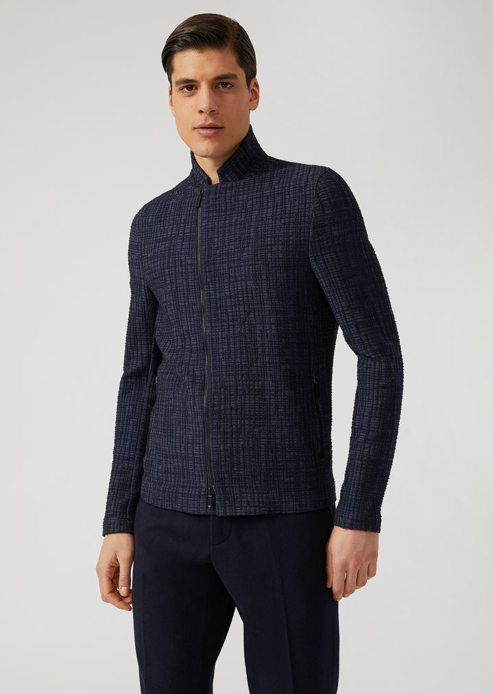 826fe06b6f Jacket in patterned stretch jersey with zip | Man | Emporio Armani