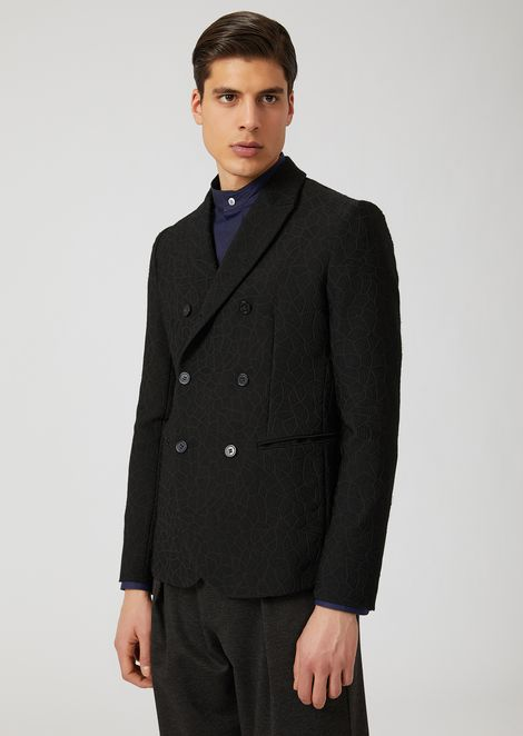 Double-breasted jacket with classic lapel and geometric pattern