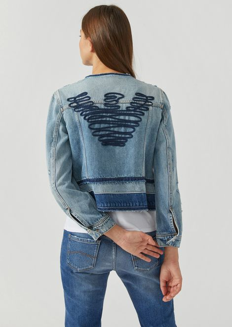Jacket in délavé effect denim with frayed detailing