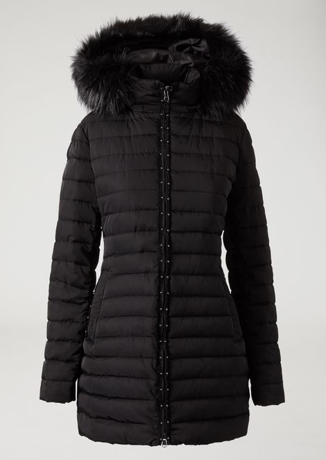 Padded jacket with hood and studded zip