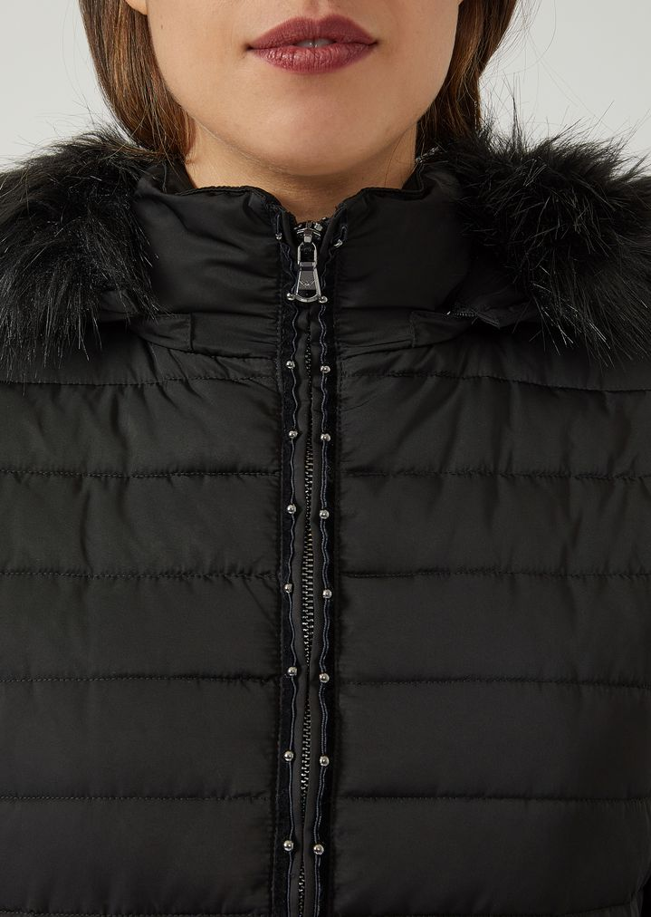 82c79f4717 Padded jacket with hood and studded zip   Woman   Emporio Armani