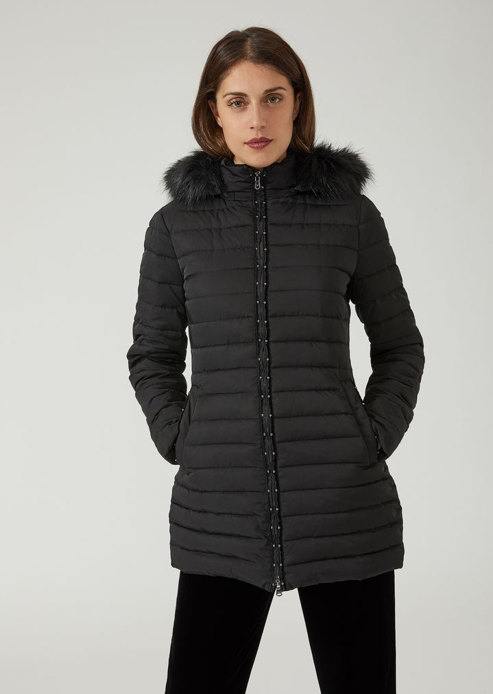 b5181696 Padded jacket with hood and studded zip | Woman | Emporio Armani