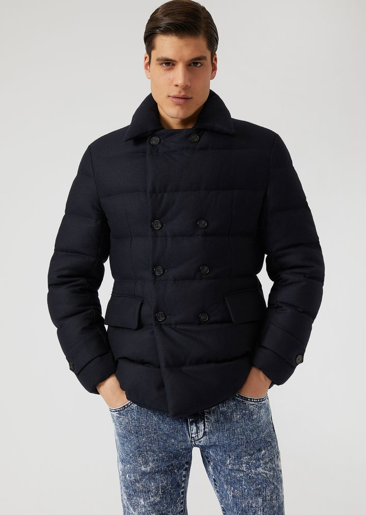 elegant appearance sports shoes united states Double-breasted peacoat in lightweight padded jersey with ...
