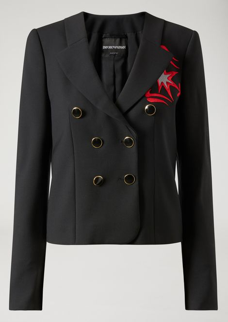 Double-breasted jacket in stretch wool with contrasting embroidery