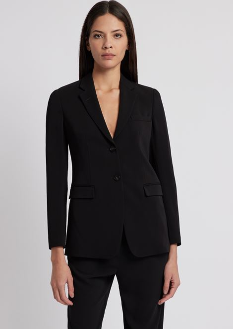 Single-breasted jacket with two buttons in stretch tricotine