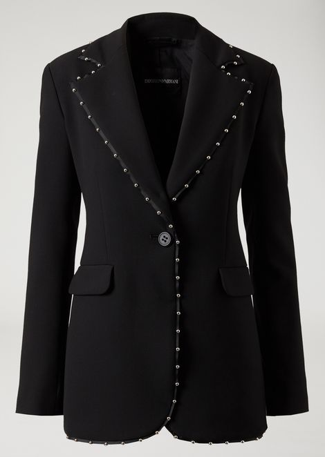 Single-breasted jacket in stretch wool with decorative studs