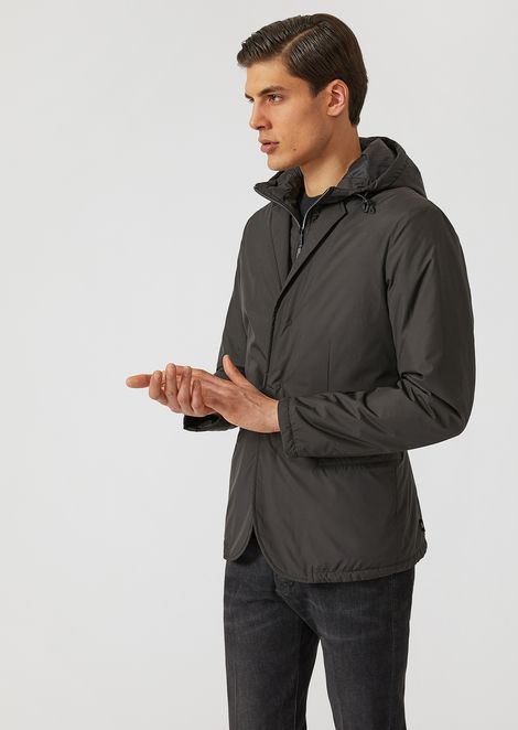 Technical fabric padded jacket with hood
