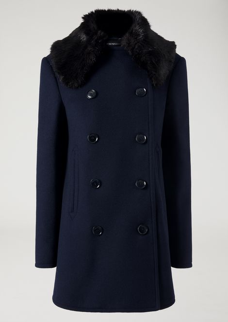 Short double-breasted coat with faux fur collar