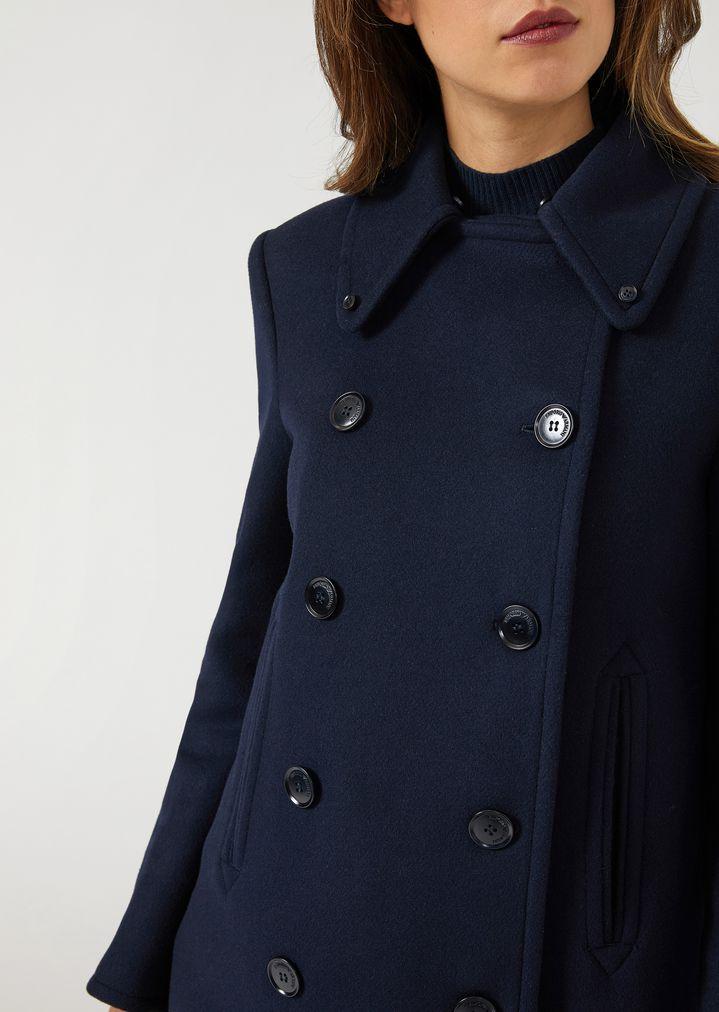 purchase cheap 68190 20c3f Cappotto corto doppiopetto con collo in ecopelliccia | Donna ...