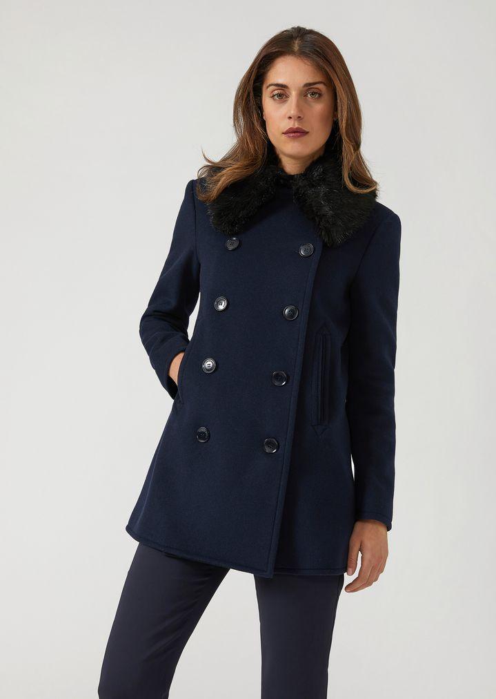 Cappotto corto doppiopetto con collo in ecopelliccia | Donna