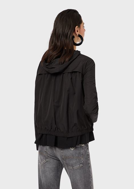 Hooded technical fabric windbreaker