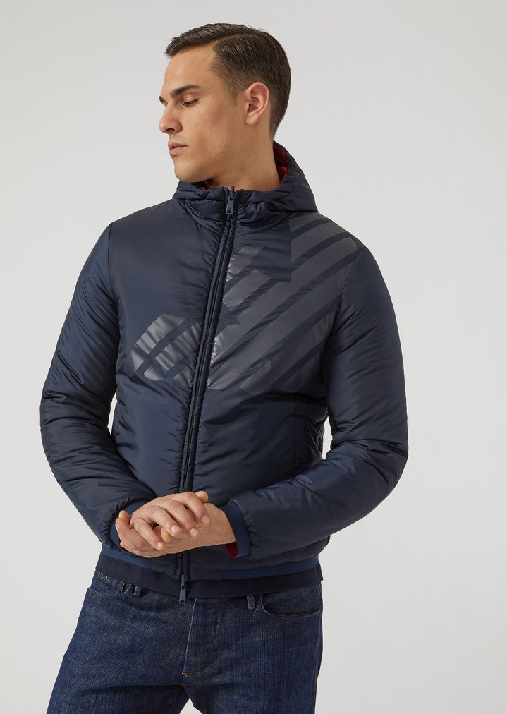 a2e310acad Reversible padded blouson with contrast print | Man | Emporio Armani