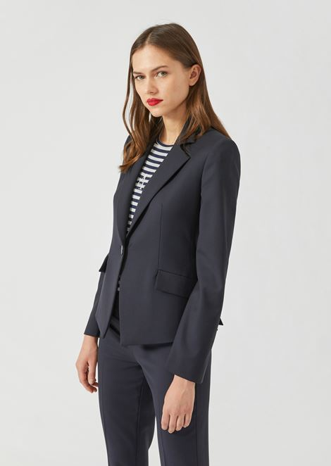 Slim-fit single-breasted blazer in stretch virgin wool