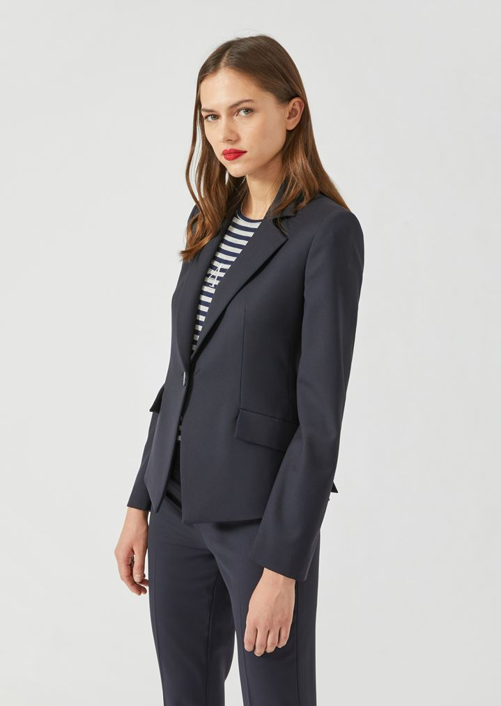 e39bc50e8e Slim-fit single-breasted blazer in stretch virgin wool
