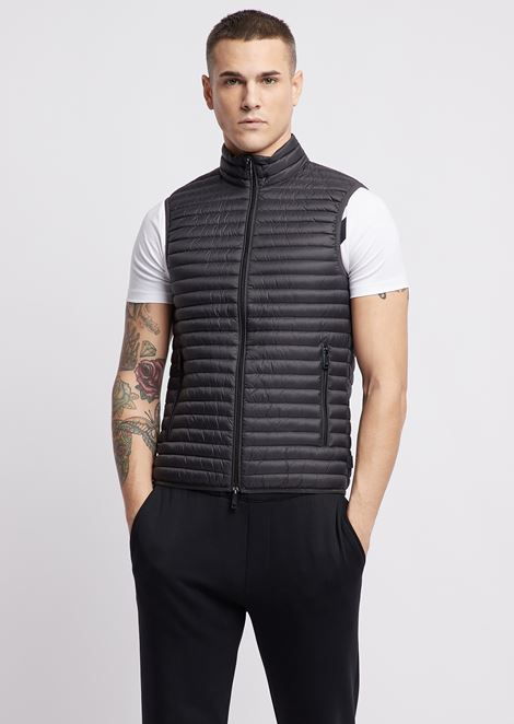 Sleeveless down jacket in tech fabric