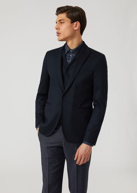 Single-breasted bib front jacket in stretch jersey