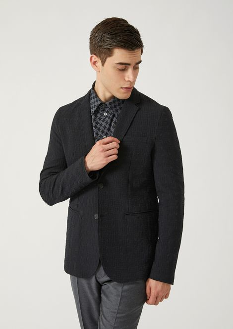 Single-breasted jacket in geometric technical jacquard