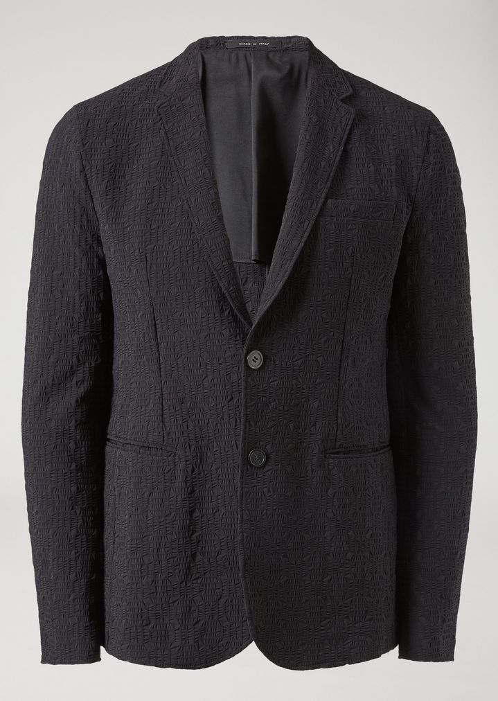 EMPORIO ARMANI Single-breasted jacket in geometric technical jacquard Casual Jacket Man r