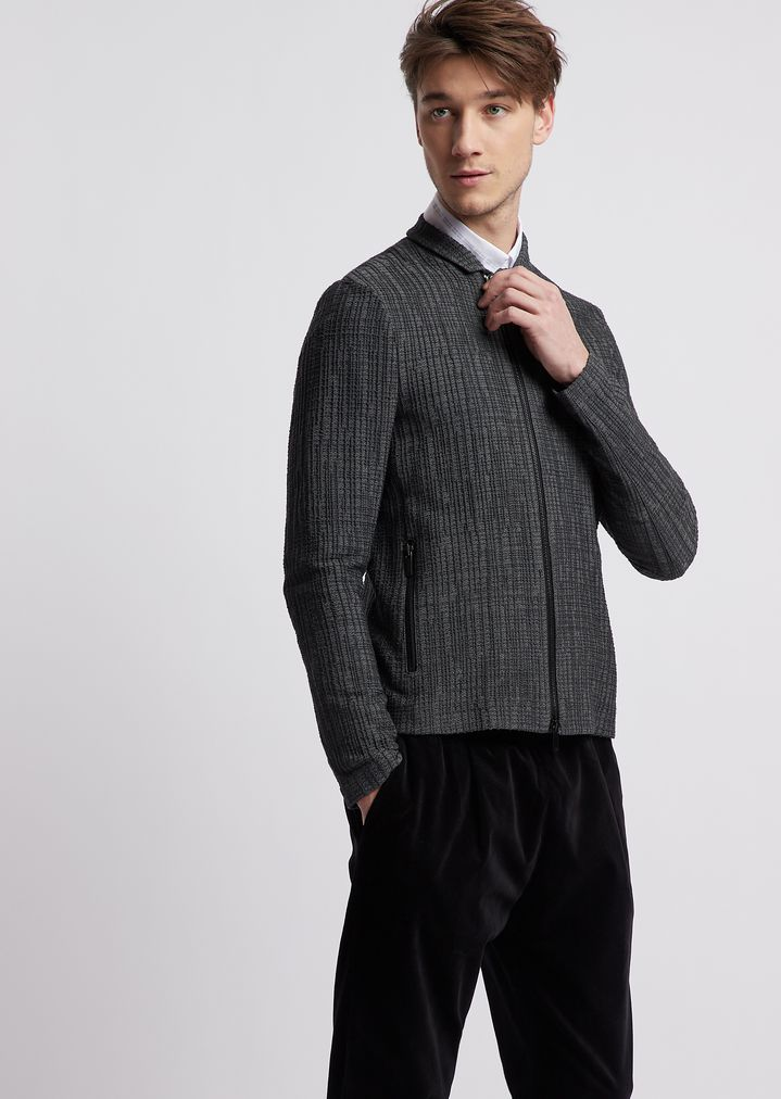 0679cd50e4 Jacket in stretch jersey pattern with zip | Man | Emporio Armani
