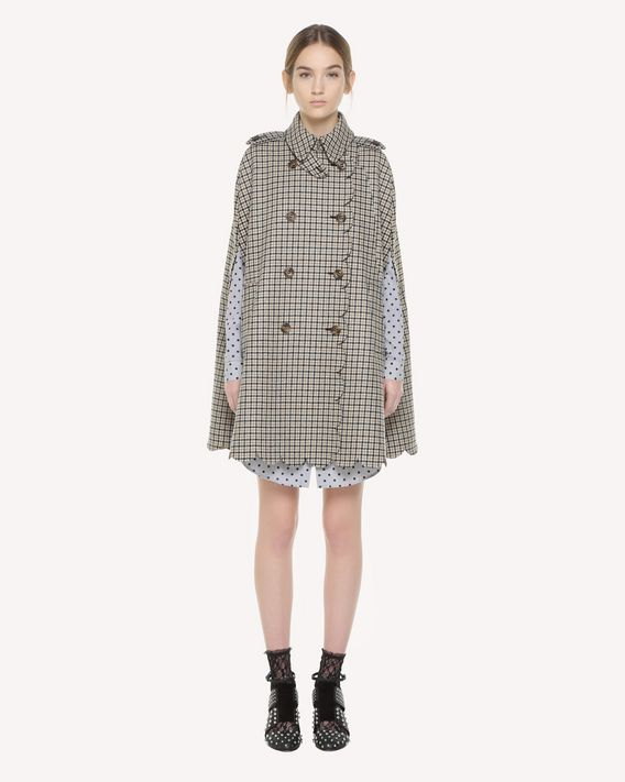 REDValentino Houndstooth cape with scallop detail