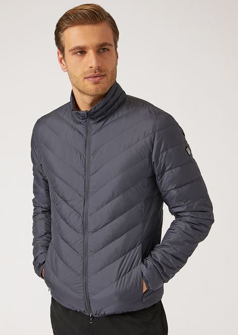Full-zip technical fabric down jacket