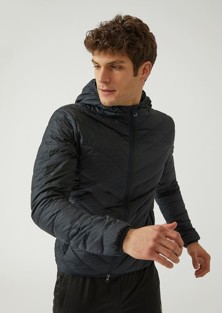 b570bb8f52 Technical fabric down jacket with hood