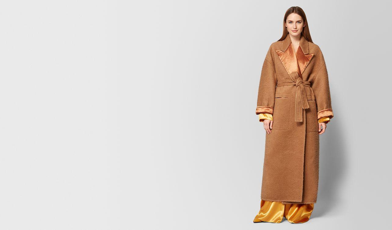 camel/fawn mohair/satin coat landing