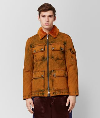 VESTE EN DENIM ET SHEARLING ORANGE