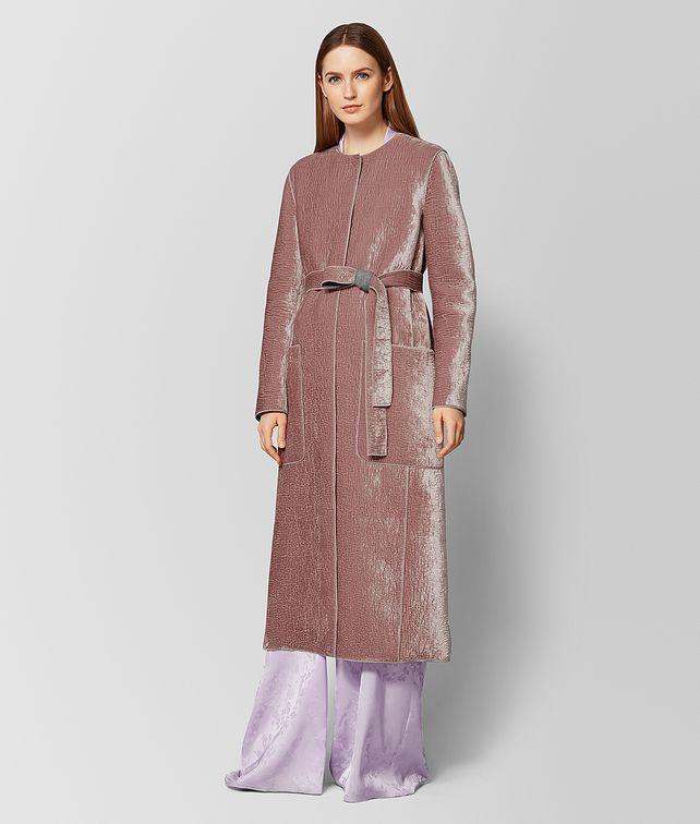 BOTTEGA VENETA MANTEAU EN LAINE ET VELOURS DECO ROSE/LIGHT GREY Manteau et veste Femme fp