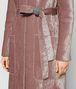 deco rose/light grey velvet/wool coat Front Detail Portrait