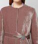 deco rose/light grey velvet/wool coat Back Detail Portrait