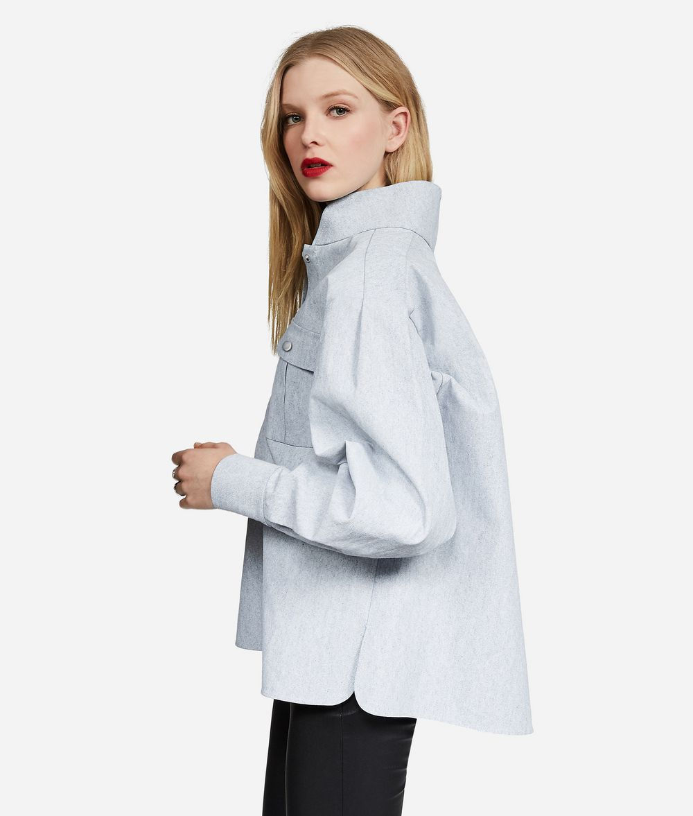 KARL LAGERFELD KARL Stand Collar Denim Shirt Blouse Woman d